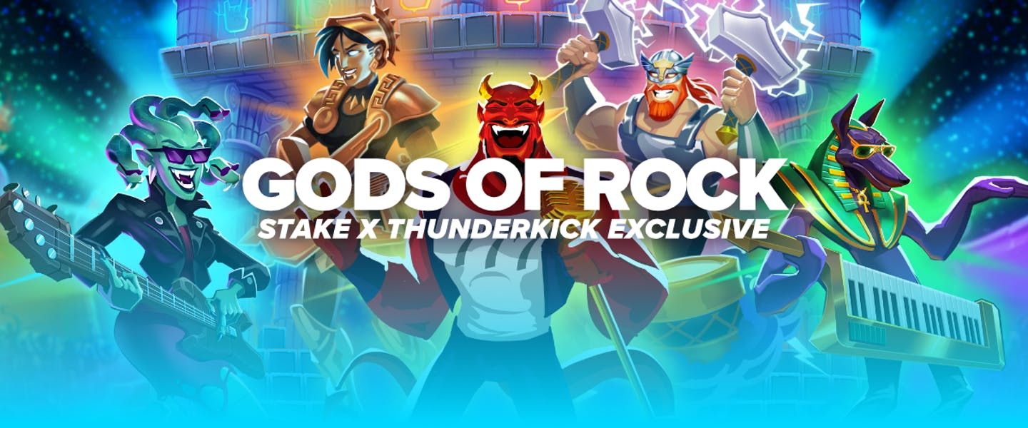 """Stake and Thunderkick are teaming up yet again for a brand new exclusive game in the form of """"Gods of Rock""""! Play now on Stake!"""