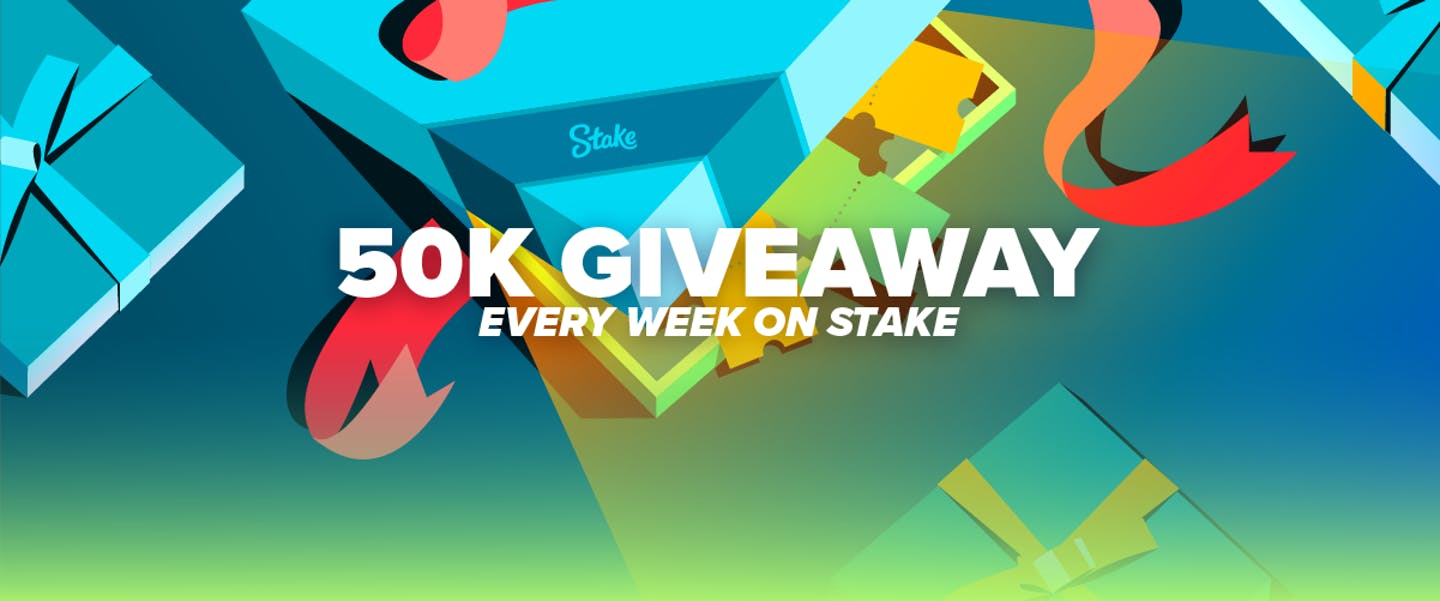 Stake will be giving away $50,000 weekly in the form of a ticketed giveaway! Wager to earn tickets into a giveaway where anybody can win. Just one ticket could see you sharing in $50,000 every single week.