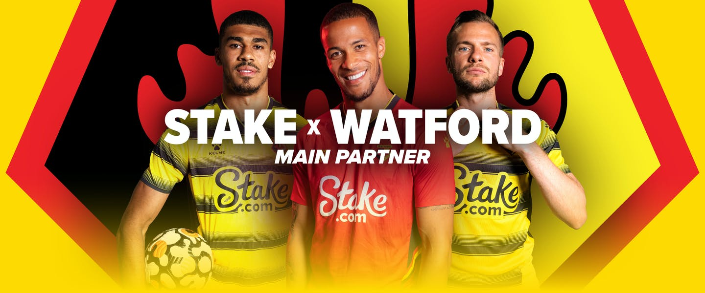 Stake is proud to announce a partnership with Watford Football Club as their principle shirt sponsor, with the Hornets returning to the Premier League for the 2021/2022 season!