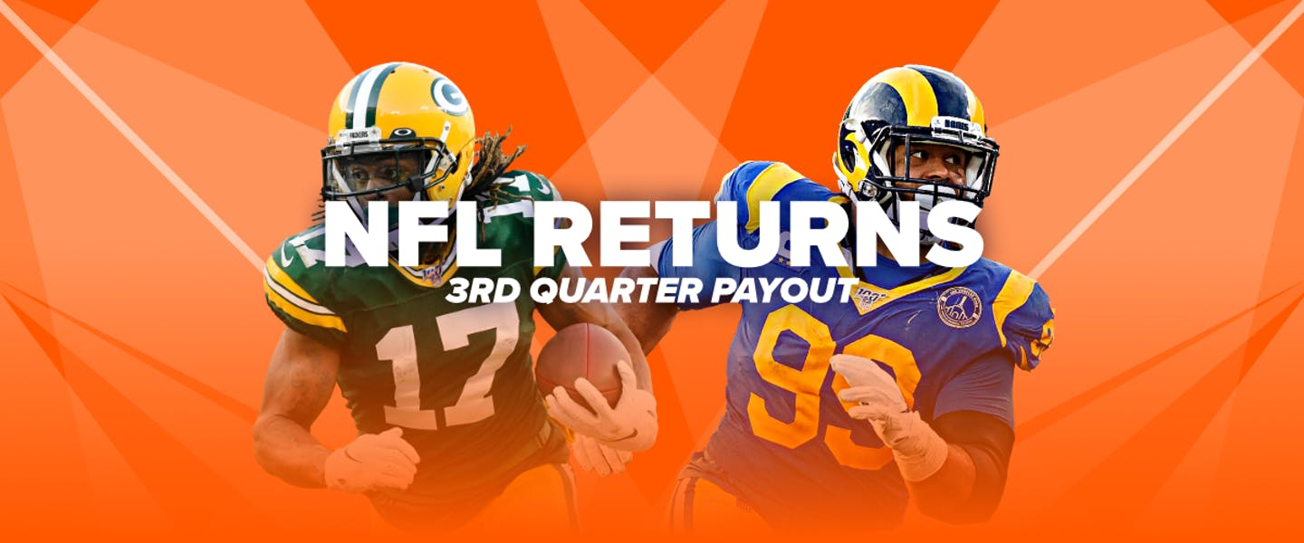 If your team leads at the end of the third quarter, you're a guaranteed winner! Be paid out as winner up to $250 even if your team goes onto lose the game!